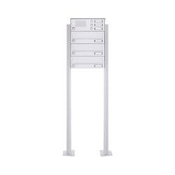 Basic | 3er Standbriefkasten Design BASIC 385P-9016 ST-T mit Klingelkasten - RAL 9016 verkehrsweiß | Mailboxes | Briefkasten Manufaktur