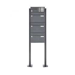 Basic | 3er Standbriefkasten Design BASIC Plus 385 XP 220 SP mit Klingelkasten - RAL nach Wahl | Mailboxes | Briefkasten Manufaktur