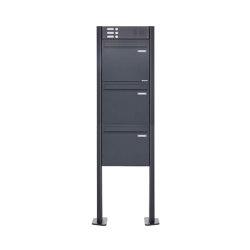Basic | 3er Zaunbriefkasten freistehend BASIC 380Z-P mit Klingelkasten- RAL 7016 anthrazitgrau | Mailboxes | Briefkasten Manufaktur