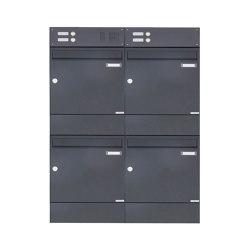 Basic | 4er 2x2 Aufputz Briefkasten BASIC 382A AP mit Klingelkasten & Zeitungsfach - RAL 7016 anthrazitgrau | Mailboxes | Briefkasten Manufaktur