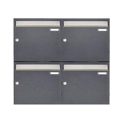 Basic   4er 2x2 Aufputz Briefkastenanlage Design BASIC 382 AP - Edelstahl-RAL 7016 anthrazitgrau 100mm Tiefe   Mailboxes   Briefkasten Manufaktur