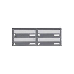 Basic | 4er 2x2 Aufputz Briefkastenanlage Design BASIC 385A AP - Edelstahl-RAL 7016 anthrazit | Mailboxes | Briefkasten Manufaktur