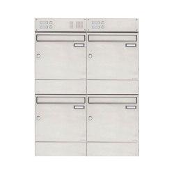 Basic | 4er 2x2 Edelstahl Aufputz Briefkasten BASIC 382A AP mit Klingel- Gegensprechteil & Zeitungsfach | Mailboxes | Briefkasten Manufaktur