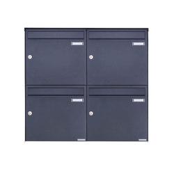 Basic   4er 2x2 Edelstahl Aufputz Briefkasten Design BASIC Plus 382XA AP - RAL nach Wahl 100mm Tiefe   Mailboxes   Briefkasten Manufaktur