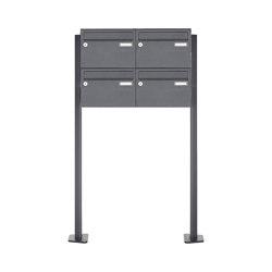 Basic | 4er 2x2 Edelstahl Briefkastenanlage freistehend Design BASIC Plus 385XP ST-T - RAL nach Wahl | Mailboxes | Briefkasten Manufaktur