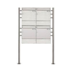 Basic | 4er 2x2 Edelstahl Standbriefkasten Design BASIC 381 ST-R mit Zeitungsfächer | Mailboxes | Briefkasten Manufaktur