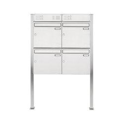 Basic | 4er 2x2 Edelstahl Standbriefkasten Design BASIC 384 ST-Q mit Klingelkasten Oben 100mm Tiefe | Mailboxes | Briefkasten Manufaktur