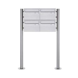 Basic   4er 2x2 Edelstahl Standbriefkasten Design BASIC Plus 385 220 X ST R - Edelstahl V2A   Mailboxes   Briefkasten Manufaktur