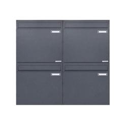 Basic   4er 2x2 Zaunbriefkasten Design BASIC 382Z - RAL 7016 anthrazitgrau - Entnahme rückseitig   Mailboxes   Briefkasten Manufaktur