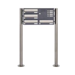 Basic | 4er 3x2 Standbriefkasten Design BASIC 385 ST-R mit Klingelkasten - Edelstahl-RAL 7016 anthrazitgrau Rechts | Mailboxes | Briefkasten Manufaktur