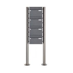 Basic | 4er 4x1 Briefkastenanlage freistehend Design BASIC 385220 7016 ST-R - RAL 7016 anthrazitgrau | Mailboxes | Briefkasten Manufaktur