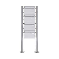 Basic   4er 4x1 Edelstahl Standbriefkasten Design BASIC Plus 385 220 X ST R - Edelstahl V2A   Mailboxes   Briefkasten Manufaktur