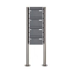 Basic   4er 4x1 Edelstahl Standbriefkasten Design BASIC Plus 385 220 X ST R - RAL nach Wahl   Mailboxes   Briefkasten Manufaktur