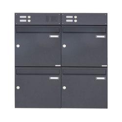 Basic | 4er Aufputz Briefkasten Design BASIC 382A AP mit Klingelkasten - RAL 7016 anthrazitgrau Oben 100mm Tiefe | Mailboxes | Briefkasten Manufaktur