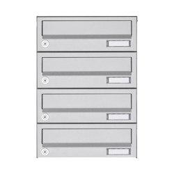 Basic   4er Aufputz Briefkastenanlage Design BASIC 385A AP - Edelstahl V2A, geschliffen   Mailboxes   Briefkasten Manufaktur