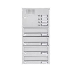 Basic | 4er Aufputz Briefkastenanlage Design BASIC 385A AP mit Klingelkasten - Edelstahl V2A, geschliffen | Mailboxes | Briefkasten Manufaktur