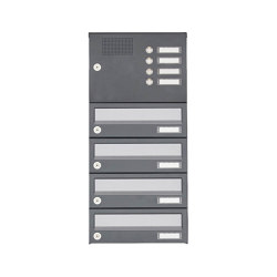 Basic | 4er Aufputz Briefkastenanlage Design BASIC 385A AP mit Klingelkasten - Edelstahl-RAL 7016 anthrazit | Mailboxes | Briefkasten Manufaktur