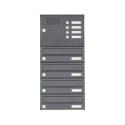 Basic | 4er Aufputz Briefkastenanlage Design BASIC 385A AP mit Klingelkasten - RAL 7016 anthrazitgrau | Mailboxes | Briefkasten Manufaktur