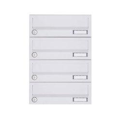 Basic | 4er Aufputz Briefkastenanlage Design BASIC 385A-9016 AP - RAL 9016 verkehrsweiß | Mailboxes | Briefkasten Manufaktur