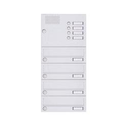 Basic | 4er Aufputz Briefkastenanlage Design BASIC 385A-9016 AP mit Klingelkasten - RAL 9016 verkehrsweiß | Mailboxes | Briefkasten Manufaktur