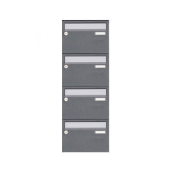 Basic | 4er Aufputz Briefkastenanlage Design BASIC Plus 385 XA 220 - Edelstahl - RAL nach Wahl | Mailboxes | Briefkasten Manufaktur
