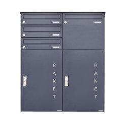 Basic | 4er Aufputz Paketbriefkasten BASIC 863 AP mit Paketfach 550x370 in RAL 7016 anthrazitgrau Rechts | Mailboxes | Briefkasten Manufaktur
