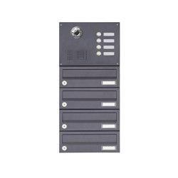 Basic | 4er Aufputzbriefkasten BASIC Plus 385 KXA SP mit Klingelkasten - Kameravorbereitung | Mailboxes | Briefkasten Manufaktur