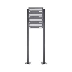 Basic | 4er Briefkastenanlage freistehend Design BASIC 385P ST-T - Edelstahl-RAL 7016 anthrazitgrau | Mailboxes | Briefkasten Manufaktur