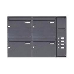Basic | 4er Edelstahl Aufputz Briefkasten BASIC Plus 592C AP pulverbeschichtet - Klingelkasten - INDIVIDUELL Rechts | Mailboxes | Briefkasten Manufaktur