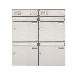 Basic | 4er Edelstahl Aufputz Briefkasten Design BASIC 382A AP mit Klingelkasten Oben 100mm Tiefe | Mailboxes | Briefkasten Manufaktur