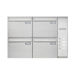 Basic | 4er Edelstahl Aufputz Briefkasten Design BASIC Plus 592C AP mit Klingelkasten - INDIVIDUELL Rechts | Mailboxes | Briefkasten Manufaktur