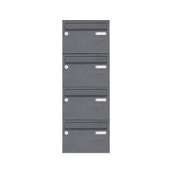 Basic | 4er Edelstahl Aufputz Briefkastenanlage Design BASIC Plus 385 XA 220 - RAL nach Wahl | Mailboxes | Briefkasten Manufaktur