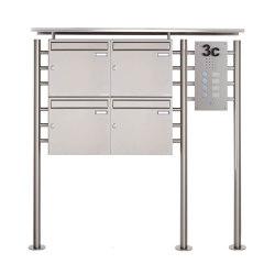 Basic | 4er Edelstahl Briefkastenanlage freistehend BASIC 311X ST-R mit Klingelkasten Rechts 100mm Tiefe | Mailboxes | Briefkasten Manufaktur