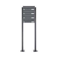 Basic   4er Edelstahl Briefkastenanlage freistehend Design BASIC Plus 385XP ST-T - RAL nach Wahl   Mailboxes   Briefkasten Manufaktur