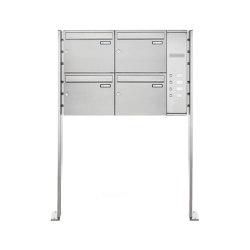 Basic | 4er Edelstahl Standbriefkasten BASIC Plus 592C ST-P - Klingelkasten - INDIVIDUELL Rechts | Mailboxes | Briefkasten Manufaktur