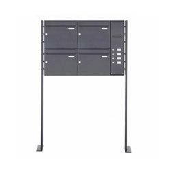 Basic | 4er Edelstahl Standbriefkasten BASIC Plus 592C ST-P pulverbeschichtet - Klingelkasten - INDIVIDUELL Rechts | Mailboxes | Briefkasten Manufaktur
