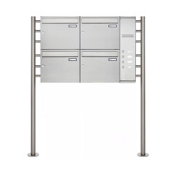 Basic | 4er Edelstahl Standbriefkasten BASIC Plus 593 ST-R - Klingelkasten - INDIVIDUELL Rechts | Mailboxes | Briefkasten Manufaktur