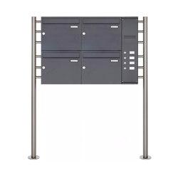 Basic | 4er Edelstahl Standbriefkasten BASIC Plus 593 ST-R pulverbeschichtet - Klingelkasten - INDIVIDUELL Rechts | Mailboxes | Briefkasten Manufaktur