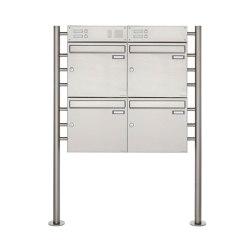 Basic | 4er Edelstahl Standbriefkasten Design BASIC 381 ST-R mit Klingelkasten Oben 100mm Tiefe | Mailboxes | Briefkasten Manufaktur
