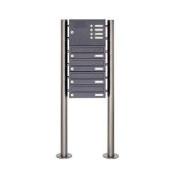 Basic | 4er Edelstahl Standbriefkasten Design BASIC Plus 385 X ST-R mit Klingelkasten - RAL nach Wahl | Mailboxes | Briefkasten Manufaktur