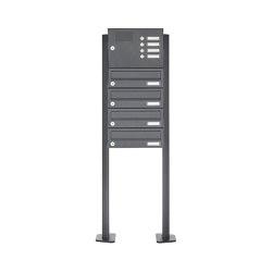 Basic | 4er Edelstahl Standbriefkasten Design BASIC Plus 385 XP SP mit Klingelkasten - RAL nach Wahl | Mailboxes | Briefkasten Manufaktur