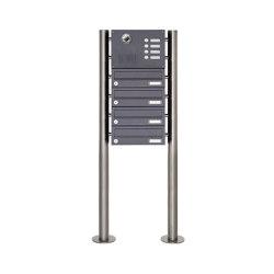 Basic | 4er Edelstahl Standbriefkasten Design BASIC Plus 385KX ST-R mit Klingel & Sprech- Kameravorbereitung | Mailboxes | Briefkasten Manufaktur