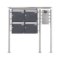 Basic | 4er Standbriefkasten BASIC 311X ST-R mit Klingelkasten - Edelstahleinwurf - RAL nach Wahl Rechts 100mm Tiefe | Mailboxes | Briefkasten Manufaktur