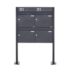 Basic | 4er Standbriefkasten Design BASIC 380 ST-T mit Klingelkasten - RAL 7016 anthrazitgrau 100mm Tiefe | Mailboxes | Briefkasten Manufaktur