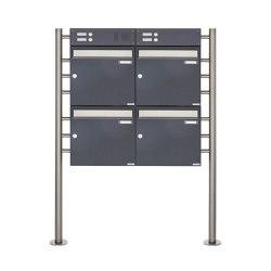 Basic | 4er Standbriefkasten Design BASIC 381 ST-R mit Klingelkasten - Edelstahl-RAL 7016 anthrazitgrau Oben 100mm Tiefe | Mailboxes | Briefkasten Manufaktur