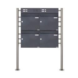 Basic | 4er Standbriefkasten Design BASIC 381 ST-R mit Klingelkasten - RAL 7016 anthrazitgrau Oben 100mm Tiefe | Mailboxes | Briefkasten Manufaktur