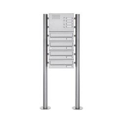 Basic | 4er Standbriefkasten Design BASIC 385 ST-R mit Klingelkasten - Edelstahl V2A, geschliffen | Mailboxes | Briefkasten Manufaktur