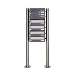 Basic | 4er Standbriefkasten Design BASIC 385 ST-R mit Klingelkasten - Edelstahl-RAL 7016 anthrazitgrau | Mailboxes | Briefkasten Manufaktur