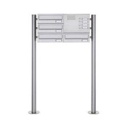 Basic | 4er Standbriefkasten Design BASIC 385 ST-R mit Klingelkasten - Waagerecht - Edelstahl V2A Rechts | Mailboxes | Briefkasten Manufaktur