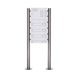 Basic | 4er Standbriefkasten Design BASIC 385-9016 ST-R mit Klingelkasten - RAL 9016 verkehrsweiß | Mailboxes | Briefkasten Manufaktur